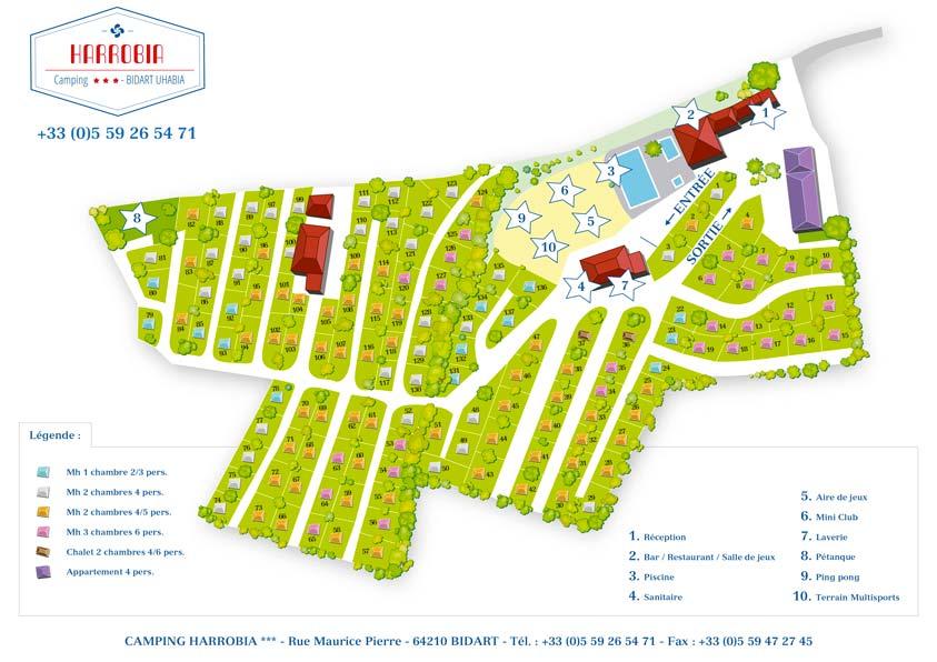 Plan du camping à Bidart au Pays Basque
